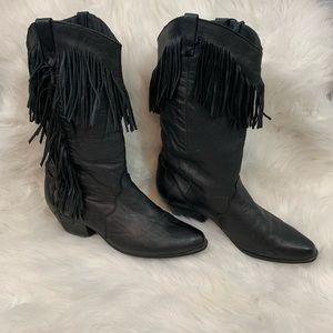 Vintage Dingo Black Fringe Cowboy Boots